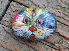 """Hand Painted """"Cat of Many Colors """" Rock Art, Indoor/Outdoor, Acrylic…"""