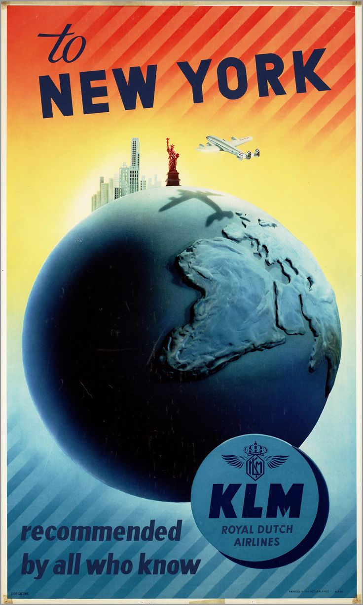 KLM ad 19531954 Reisposter, New york poster, Oude reclame