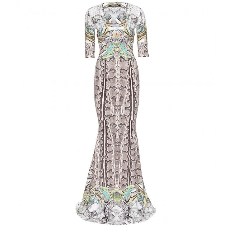 roberto cavalli new england floor length print gown