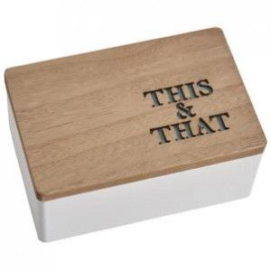 This lovely little box is great for all your bits and bobs and who doesn't need one of them!! Nice modern design with cut out writing and real wood lid.  Dimensions (cm): 7.6 x 17 x 11
