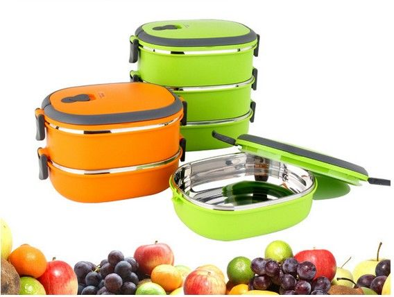 1PC 1-2 Layer Portable food container lunch box fruit storage bento box thermos for food with containers picnic container KV 123