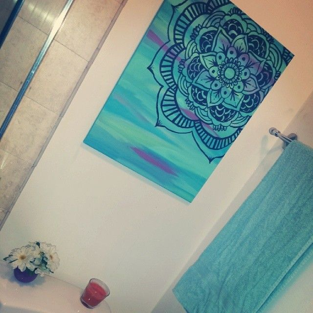 mandala pintada....para baño o lavadero