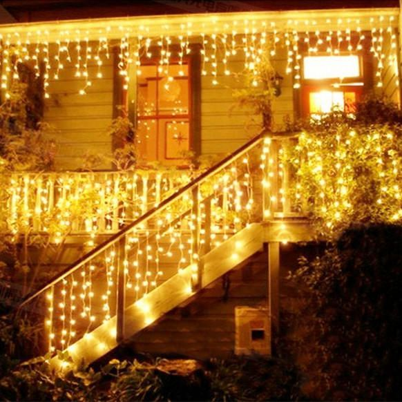 Christmas 4M 96 LED Indoor Outdoor String Lights 110-220V Curtain Icicle Drop LED Party Garden Stage Decorative Light at Banggood  #light
