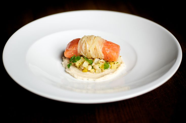 Confit salmon, pickled ginger celeriac, haricot beans - The British Larder !