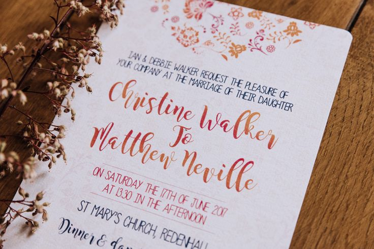 Floral Stationery Invitation Invite Orange Country Barn Wedding http://www.meganduffield.com/