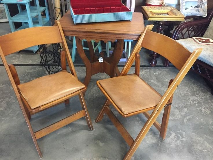 Kestell Chair Wood Folding Card Table Chairs Vtg Mid Century Maple