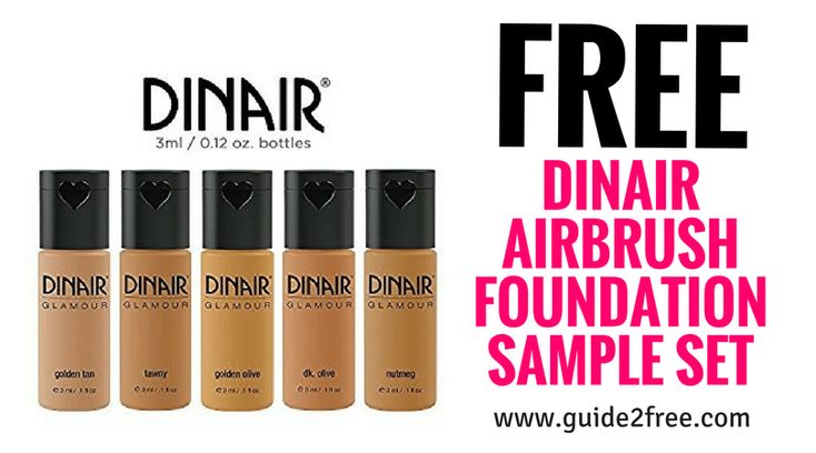 Get aFREE Dinair Airbrush Foundation Sample Set! This is for first time Dinair users. Just fill out the form with your mailing info and skintone.DinairAirbrush Foundationsare designed to set on contact for the ultimate in comfort and wear. Our makeup is compatible with all skin types.