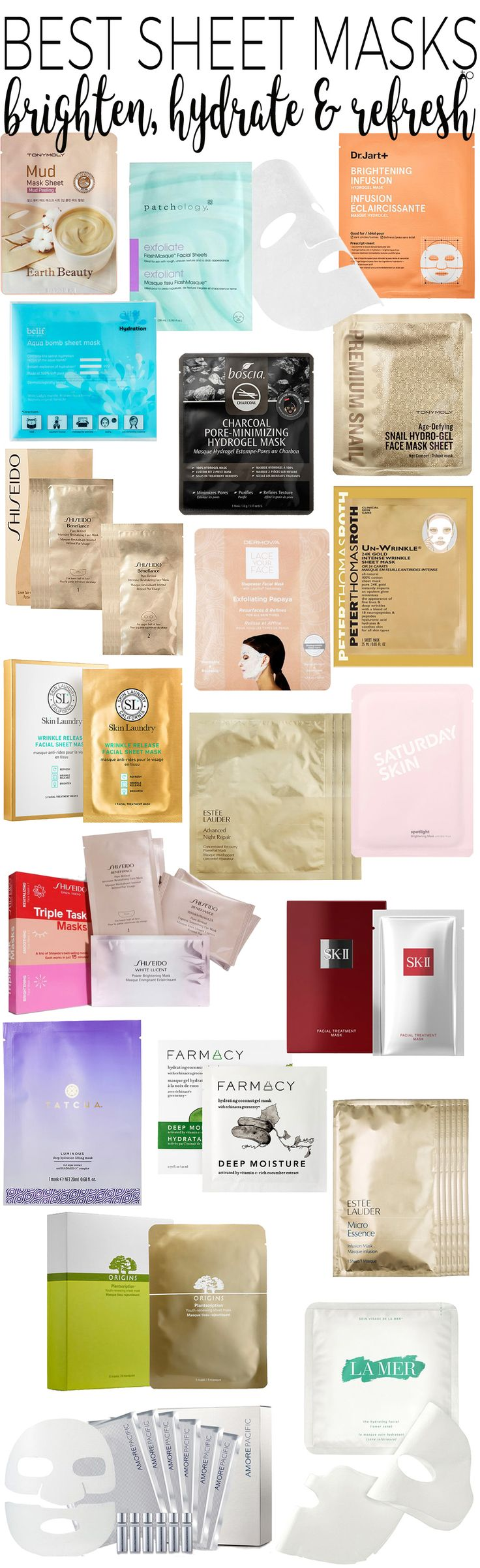 Ahhh, I love taking 20 minutes a few times a week to treat my skin to a  sheet mask. Sheet masks are the best way to give skin a quick pick-me-up  and either brighten, hydrate or refresh the face. Whether your skin is dry,  oily or could use some extra exfoliation (which you should be doing a few