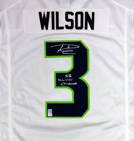 "Russell Wilson Autographed Seattle Seahawks White Nike Twill Jersey """"SB XLVIII Champs"""" Size XL RW Holo Stock #90926"