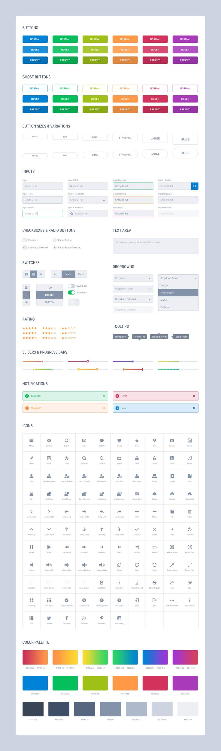 Grade UI Kit: Basic Elements Light.   #UI #UserInterface #UX #UserExperience #Photoshop #Sketch #Design #UIKit #Stylesheet