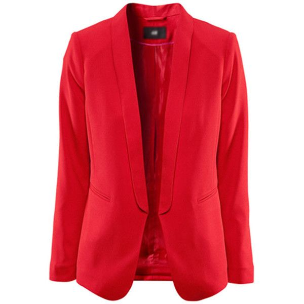 Red Chic Lapel Two Pockets Stylish Blazer (695 MXN) ❤ liked on Polyvore featuring outerwear, jackets, blazers, chaquetas, red, open front blazer, lapel blazer, red blazer, long sleeve blazer and lapel jacket