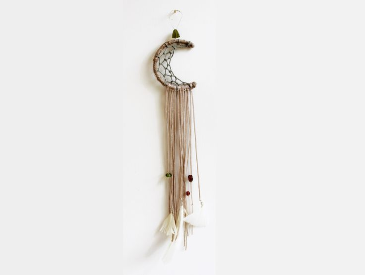 "Moon Dream Catcher Bohemian 3"" Wall Decor Car Mirror Feathers Beads Lace Boho Gypsy Chic Room Decor Wall Hanging (30.00 GBP) by MakingThingsHappen"