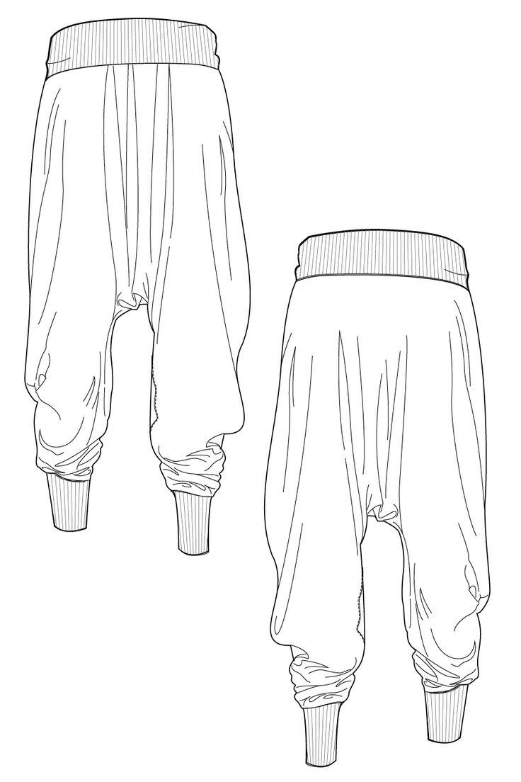 O-hara pants - harem pants. Flat drawing by Ralph Pink
