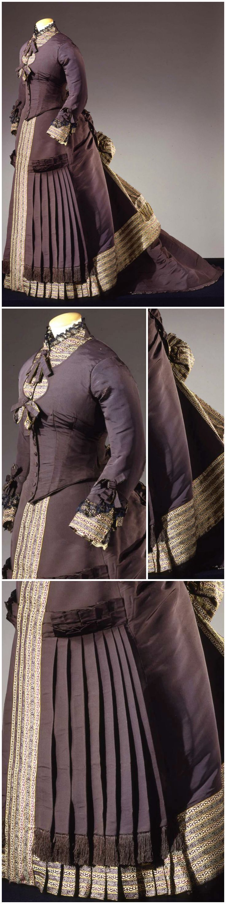 Dress in two parts, by Atelier Worth, Paris, c. 1878, at the Pitti Palace Costume Gallery. Via Europeana Fashion.