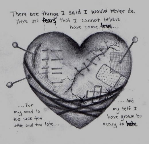 Sad HeartBroken | deviantART: More Like Sad heart, drawing by me by ~DarkAngelsTears