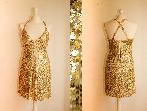 Vintage 90's Gold sequin dress with straps. by VintageVanillaShop