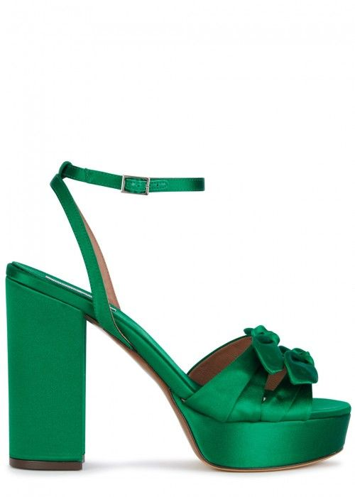 e455e254ad70 TABITHA SIMMONS JODIE EMERALD GREEN SATIN SANDALS.  tabithasimmons  shoes