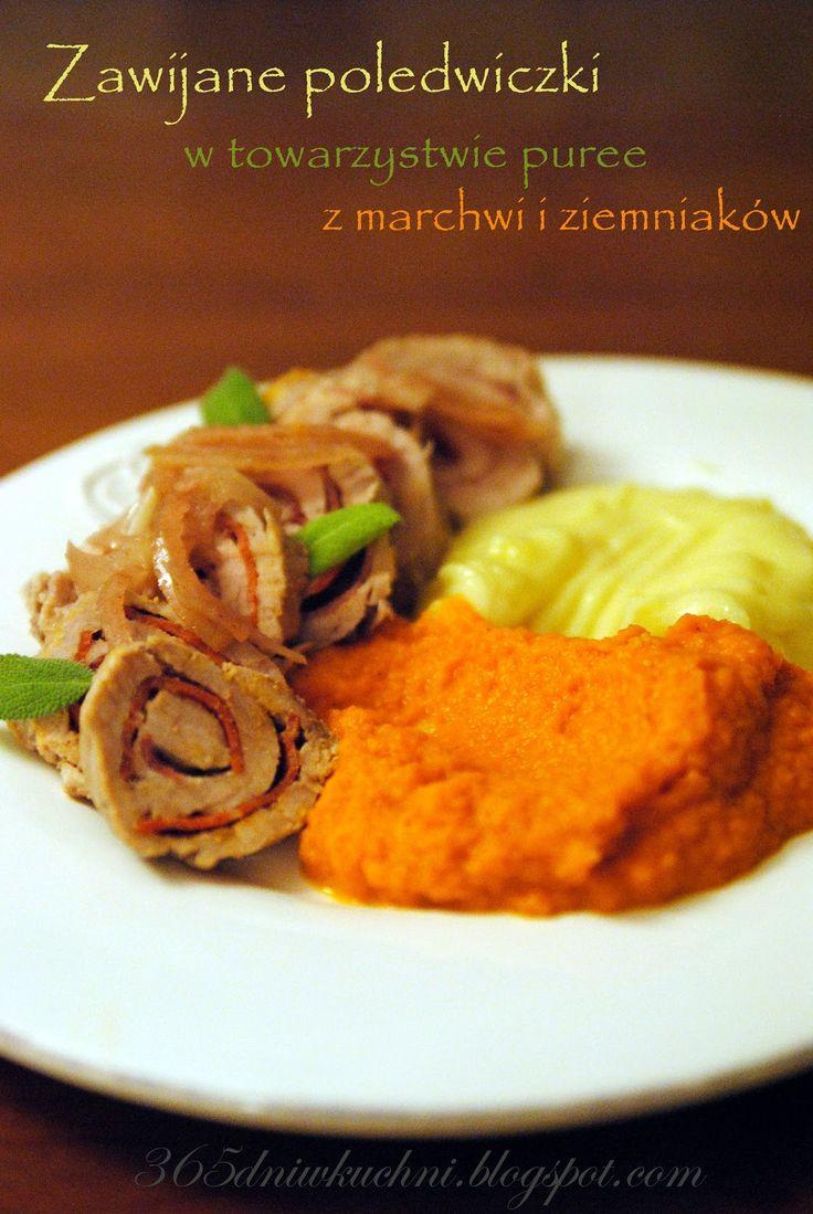 w 365 dni dookoła kuchni: Zawijane polędwiczki w towarzystwie puree z marchwi i ziemaników