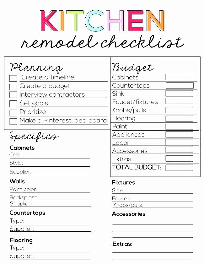 Home Renovation Project Plan Template Lovely Kitchen Renovation Bud Template Kitchen Remodel Checklist Kitchen Remodel Renovation Planner