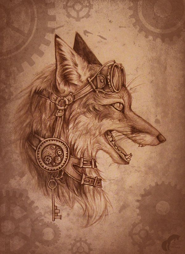 Steampunk-fox by GreenAmb.deviantart.com on @deviantART