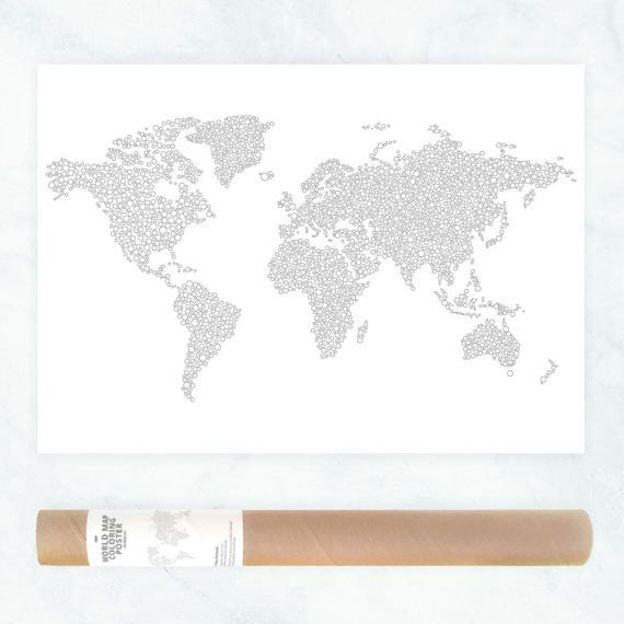 This giant world map coloring page guarantees hours of coloring and makes an amazing wall art. The poster is printed onto 80 gr white paper, that is perfect for drawing with pencils and any other medium.  The measurements of the print are 50x70cm, which is approx. 19x27 inch.  Each of the continents is illustrated with a circle (dots) pattern.  If youre looking for a custom illustrated coloring page or want any of the available prints in a different size, please feel free to contact me…