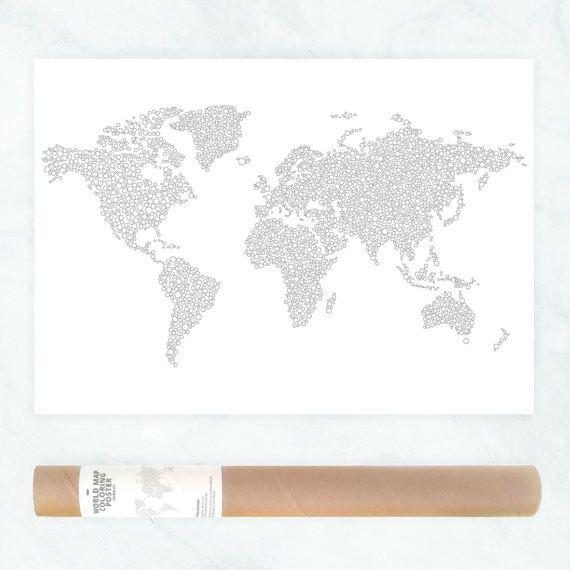 World map circles coloring page dots pattern coloring page for adults giant coloring poster bubbles coloring map world travel map by AnnaGrundulsDesign