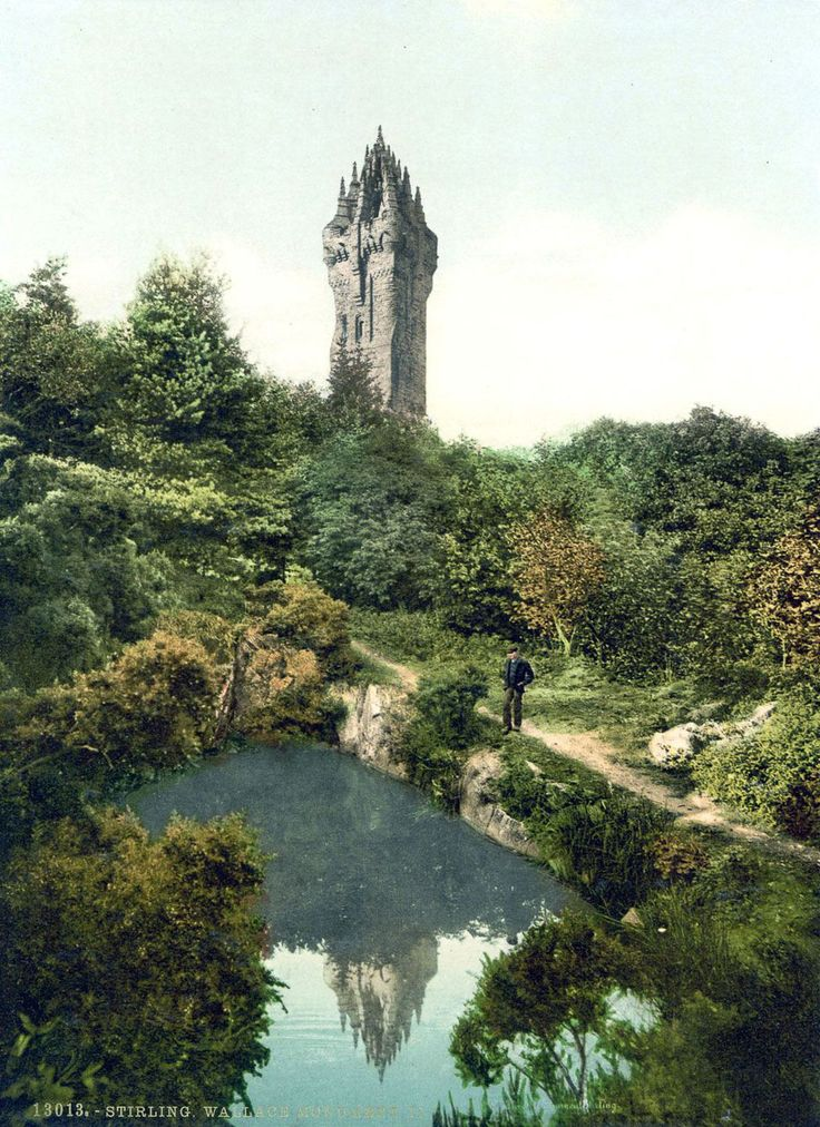 Spectacular color postcards of the castles and moors of 1890 Scotland - Wallace Monument on Abbey Craig near Stirling, a monument to Sir William Wallace.