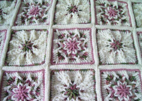 Shabby Chic Rose Garden Crocheted Afghan/Throw | Gardens ...