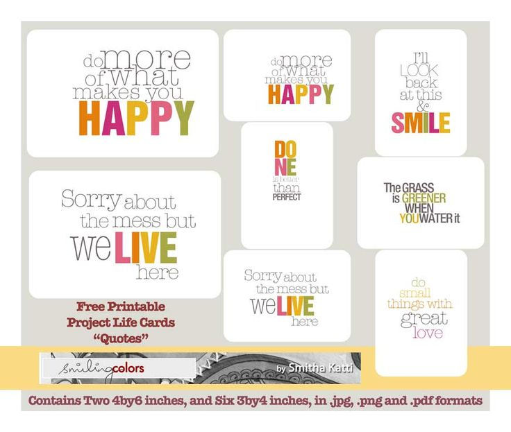 Project life free printable cards from: http://www.smilingcolors.com/2012/02/freebie-friday-project-life-quotecards/