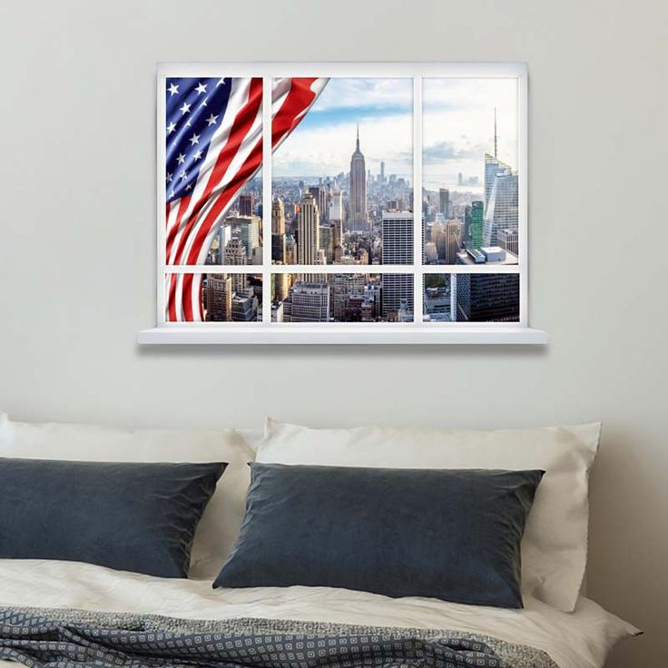 3D American Flag Wallpaper Window Scenery Wall Sticker Home Decor Decals Mural for Kids Room Living Room Decoration