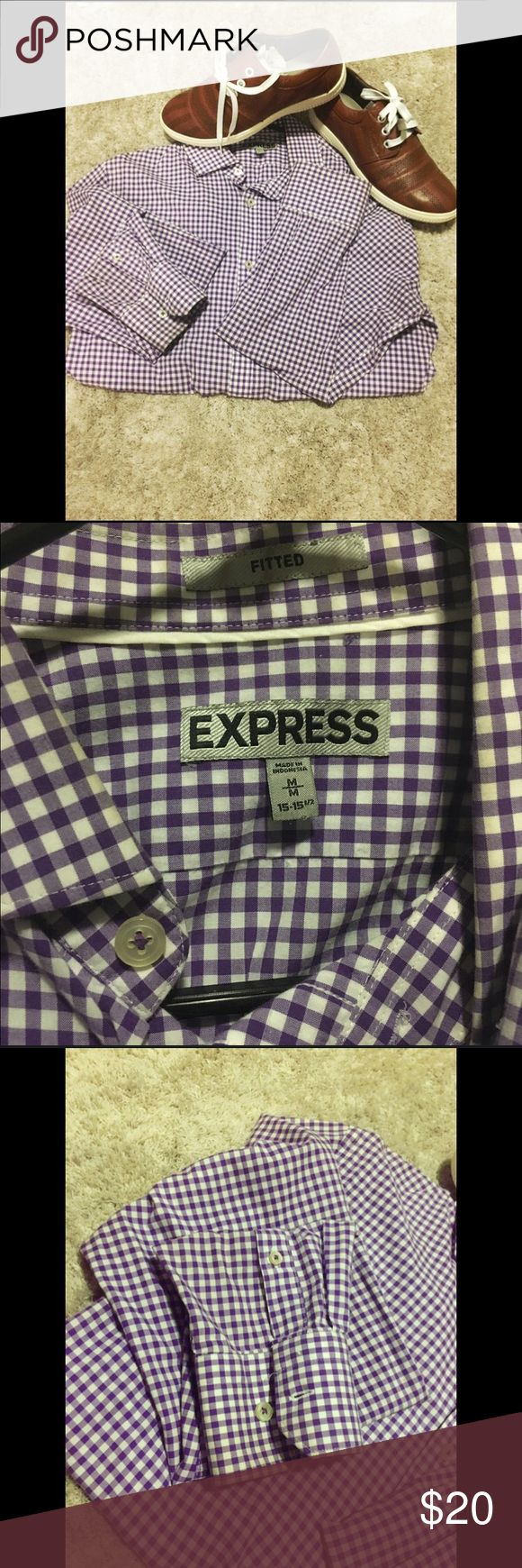 Express fitted purple shirt In great conditions just a visit to the dry cleaner as you can see in the pic at the end of sleeves a bit stain I'm sure it will come off. 🙃 Express Shirts Dress Shirts