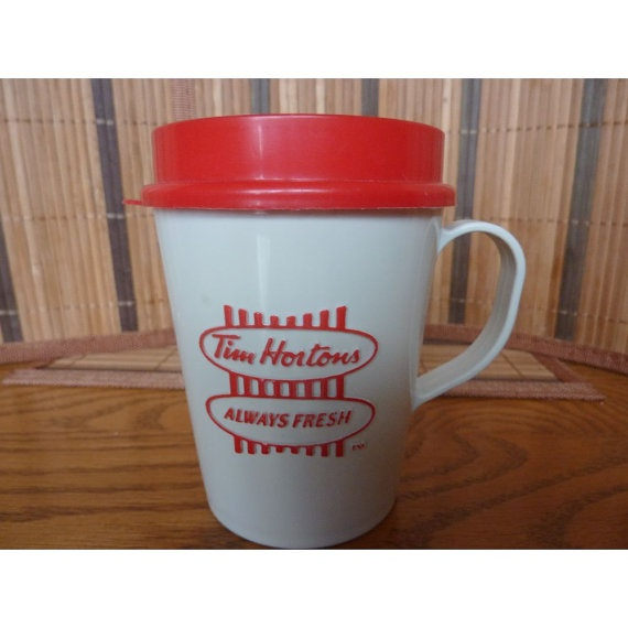 Vintage Tim Hortons Red and White Travel Coffee by WishfulSpirit, $16.00