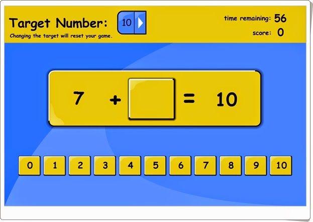 """""""Missing number"""" juega a encontrar un número que sumado a otro dé un resultado dado en el tiempo determinado de 60 segundos. Obtiene mejor marca quien coloca bien más números en ese tiempo. Se puede sumar para obtener 1, 2, 3, hasta 20, por lo que pueden jugar niños de 1º y 2º de Primaria."""