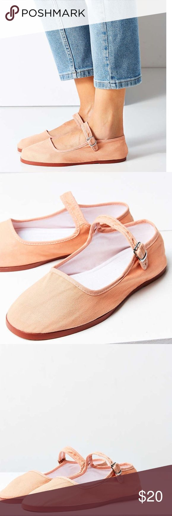 Back in STOCK cotton Mary Jane shoes Brand new in package!!!  These are great cotton Mary Jane flats!!!  Like and I'll tag you when they are in!!!  Peach color. Urban Outfitters Shoes Flats & Loafers