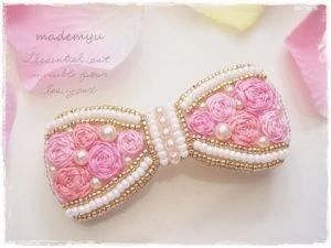 バレッタ 「縁取りリボンローズ/ピンク」 more pink 158