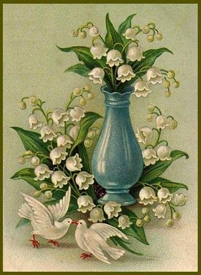 lily of the valley: Flower Lilies, Vintage Postcards, Valley Prints, Vintage Printables, Royal Wedding, Art, Vintage Lilies, Lily'S Of The Valley, Vintage Image
