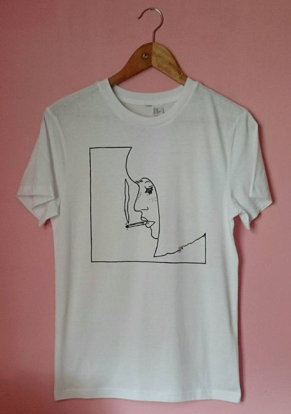 Unisex Smoking Girl T Shirt by SolukWorkshop on Etsy