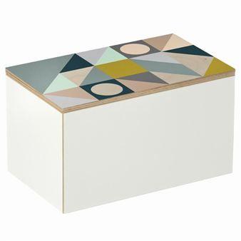 Den trendy Plint-boksen fra Ferm Living har en stilfull og fargerik design med et grafisk mønster. Denne boksen er perfekt til oppbevaring av smykkene dine, sminke, eller hvorfor ikke nøkler og løsmynter