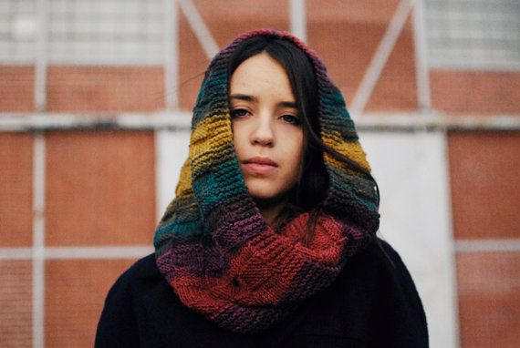 Colorful hand knitted hood scarf. Can be also worn as a hood with the edges loose or as a scarf with the hood down.    Also available in other colors: