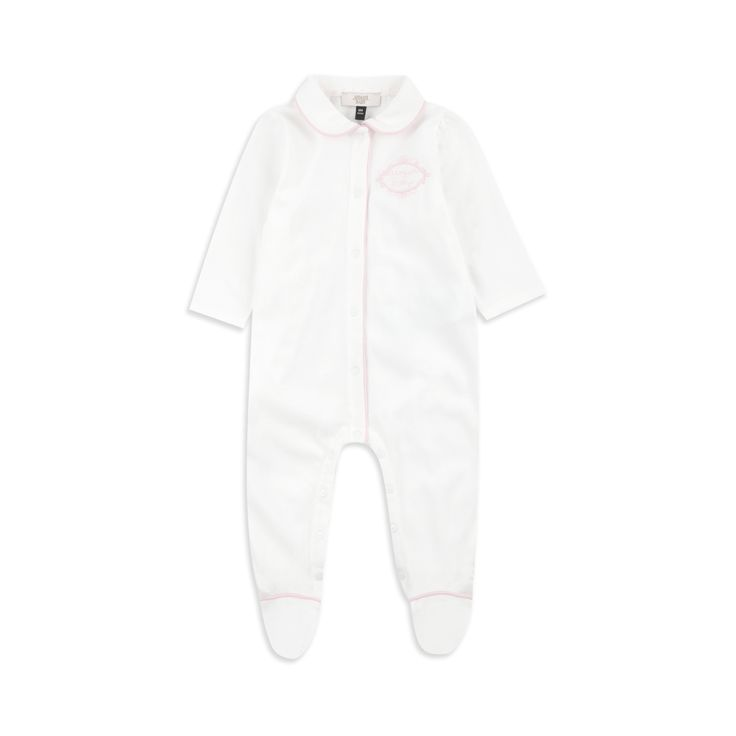 ARMANI BABY Baby Girls Cotton Coverall - White Baby girls coverall • Soft cotton jersey • Pop button fastening • Polo collar design • Logo embroidery • Material: 100% Cotton