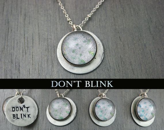 "Don't Blink ""Don't Blink"" Doctor Who Weeping Angels Antique Silver Necklace by moonlightmine"