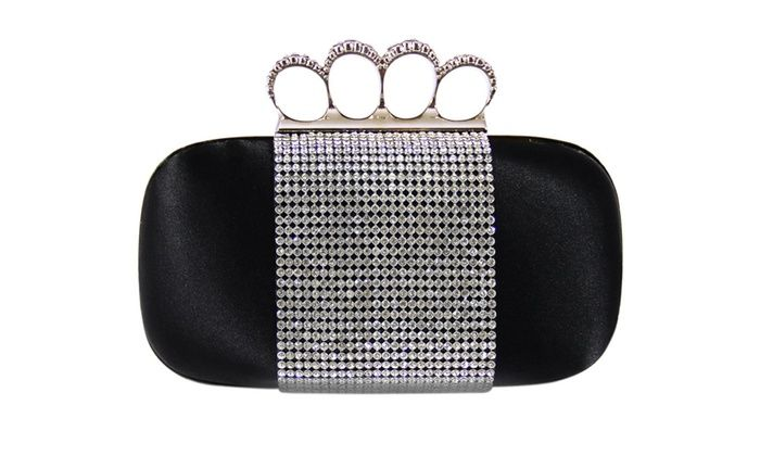 Clickhere2shop: Jacki Design Satin Rhinestone Knuckle Ring Clutch