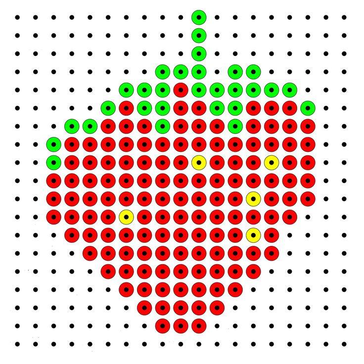 Kralenplank kleuters groep 1/2 aarbei, wortel, appel, banaan, peer, sinaasappel, groentewinkel man