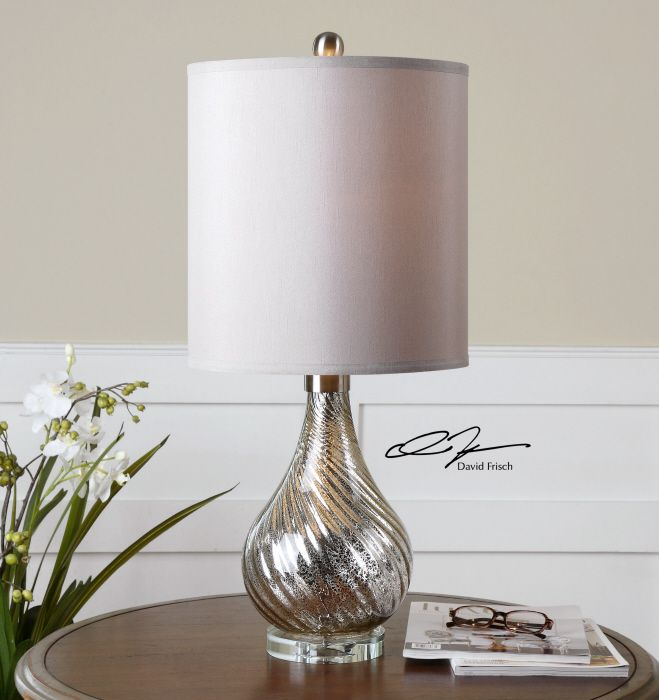 Uttermost girona mercury glass table lamp spiral fluted mercury glass accented with brushed aluminum details