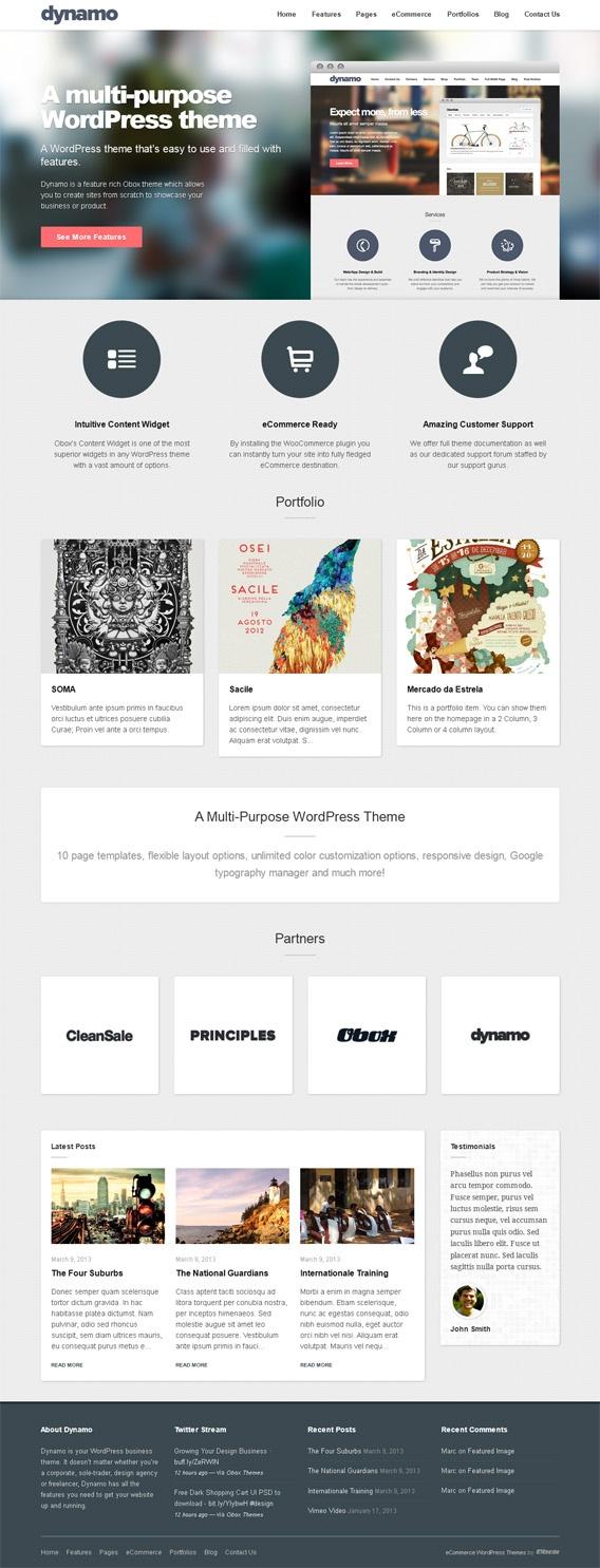 Dynamo, WordPress Parallax Ecommerce Business Theme