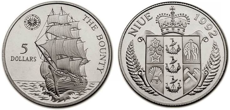 Niue, 5 dollars, 1992.  The Bounty.