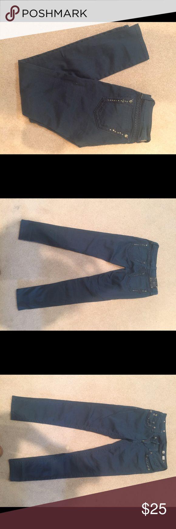 Teal blue miss me skinny jeans Miss me skinny jean worn once!!! Miss Me Jeans Skinny