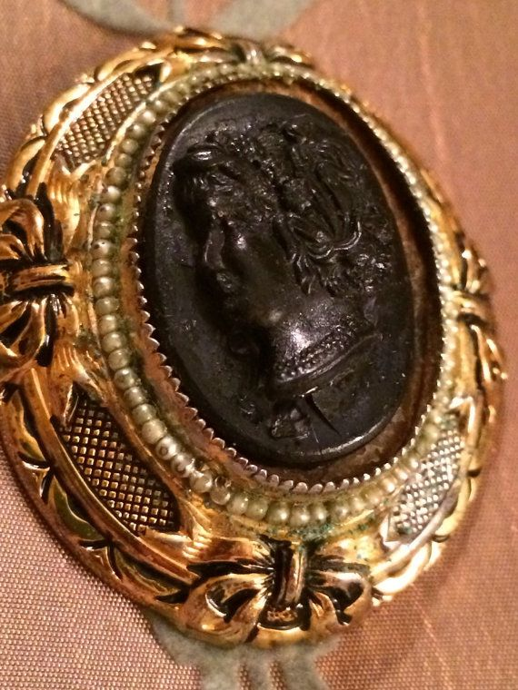 Limited Edition Vintage Cameo Brooch Black & Gold by MKAuthentic