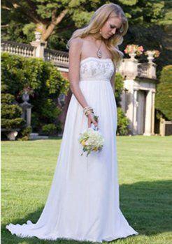 Empire Court sweetheart train robes de mariée en mousseline de soie de maternité