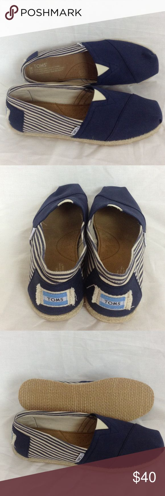 NWOT TOMS Canvas and Stripe Canvas Shoes NWT TOMS nautical look with navy canvas and blue and white striped sides. TOMS are made for comfort! Toms Shoes